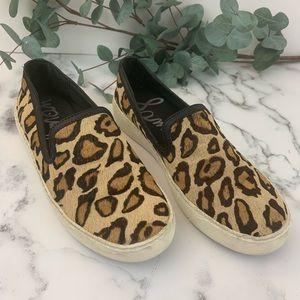 SAM EDELMAN Becker Slip On Leopard Sneakers Sz 7